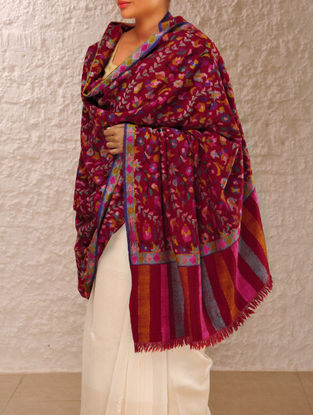 Exquisite Kashmir Pashmina Dorukha Kani Lahariya Bel-Phooldar Design Hand Woven Shawl By Aditi Collection