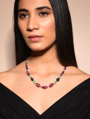 Ruby and Emerald Beaded Necklace