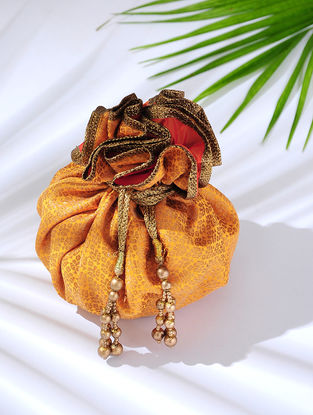 Orange Handcrafted Brocade Potli with Latkans