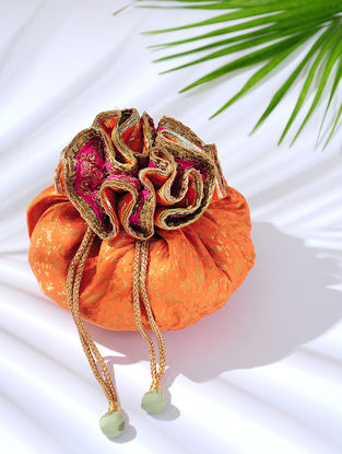 Peach Handcrafted Embroidered Brocade Potli with Latkans