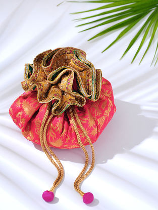 Pink Handcrafted Embroidered Brocade Potli with Latkans