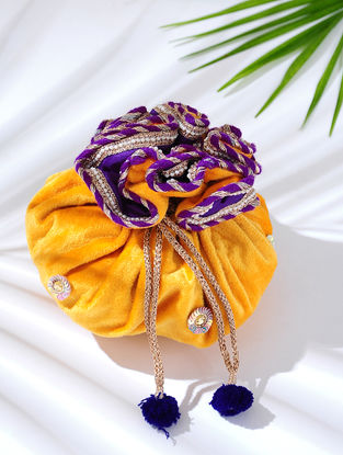 Yellow Handcrafted Embroidered Velvet Potli with Latkans