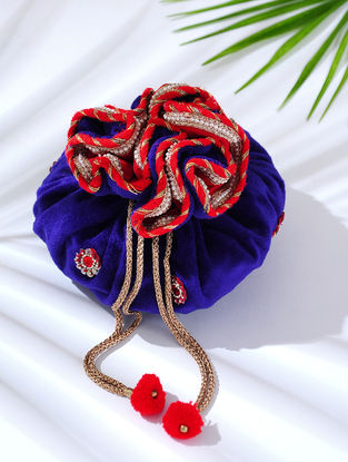 Blue Handcrafted Embroidered Velvet Potli with Latkans
