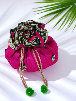 Magenta Handcrafted Embroidered Velvet Potli with Latkans