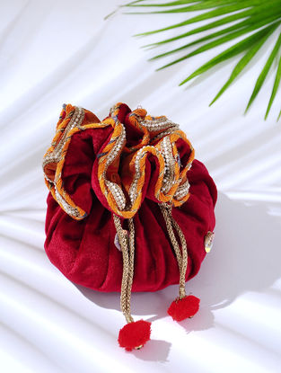 Pink Handcrafted Embroidered Velvet Potli with Latkans