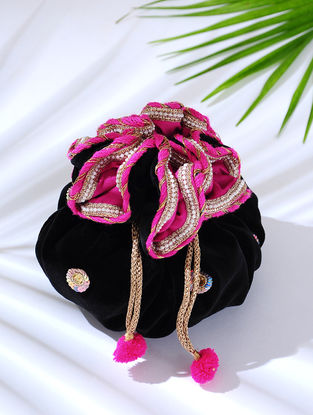 Black Handcrafted Embroidered Velvet Potli with Latkans