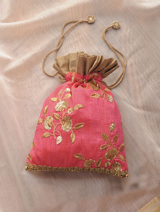 Peach-Golden Hand-Crafted Sequin Embroidered Silk Potli with Latkans