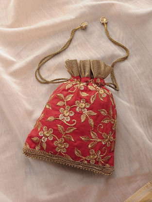 Red-Golden Hand-Crafted Sequin Embroidered Silk Potli with Latkans