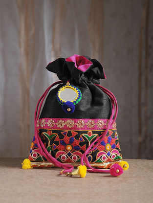 Black Hand-Embroidered Chroma Silk Potli with Mirror Embellishments and Tassels