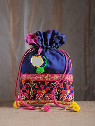 Blue Hand-Embroidered Chroma Silk Potli with Mirror Embellishments and Tassels