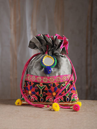 Grey Hand-Embroidered Chroma Silk Potli with Mirror Embellishments and Tassels