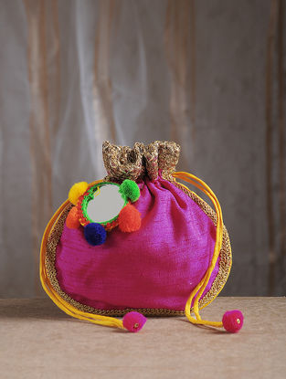 Pink Handcrafted Chroma Silk Potli with Mirror Embellishments and Tassels
