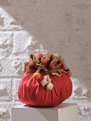 Magenta Handcrafted Chroma Silk Potli With Latkans