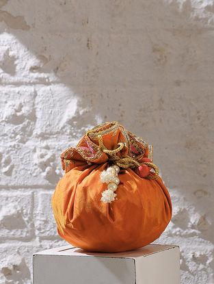 Orange Handcrafted Silk Potli With Latkans