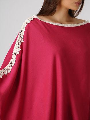 Pink Cotton-Jute Cape with Lace Border