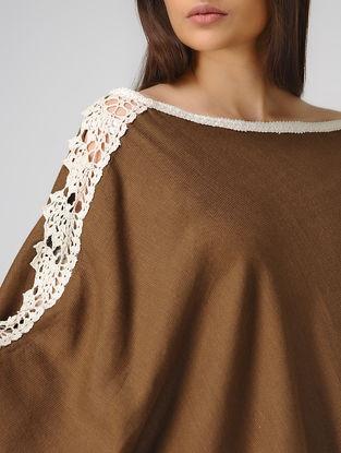 Brown Cotton-Jute Cape with Lace Border