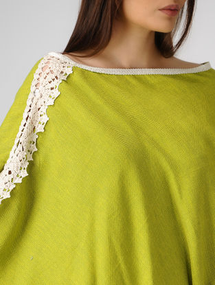 Green Cotton-Jute Cape with Lace Border