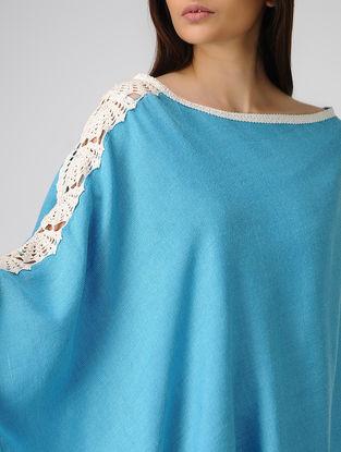 Blue Cotton-Jute Cape with Lace Border
