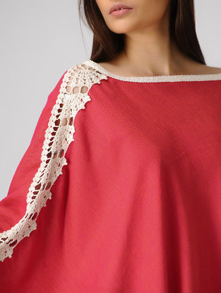 Red Cotton-Jute Cape with Lace Border
