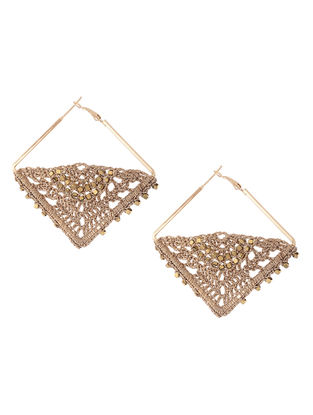 Golden Zari Thread Earrings with Crochet Work