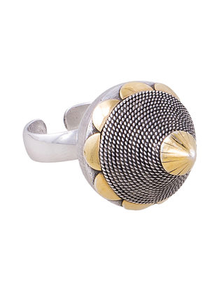 Dual Tone Silver Adjustable Ring