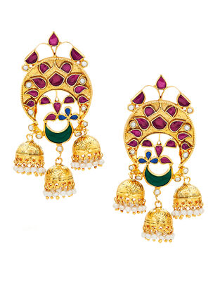 Red Onyx Gold-plated Silver Jhumkis with Pearls