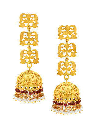 Red Gold-plated Silver Jhumkis with Pearls