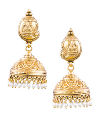Gold-plated Silver Jhumkis with Deity Motif