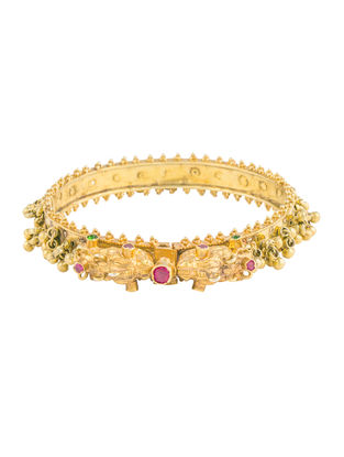 Pink Hinged Opening Gold-plated Sterling Silver Bangle (Bangle Size -2/4)
