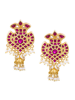 Ruby Gold-plated Sterling Silver Jhumkis with Pearls