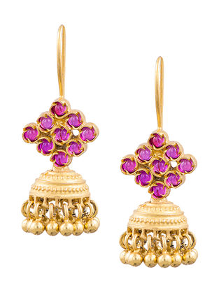 Pink Gold-plated Sterling Silver Jhumkis