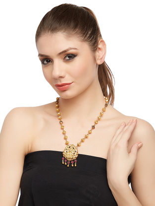 Purple Gold-plated Sterling Silver Necklace with Deity Motif