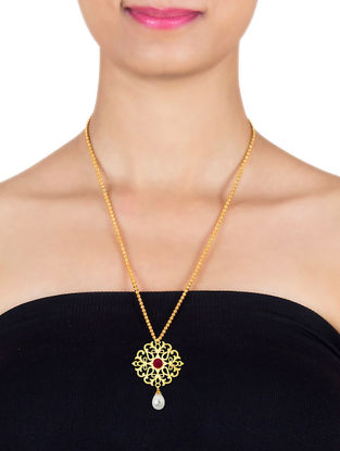 Red Onyx Gold-plated Sterling Silver Pendant