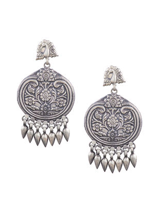 Tribal Sterling Silver Earrings with Peacock Design
