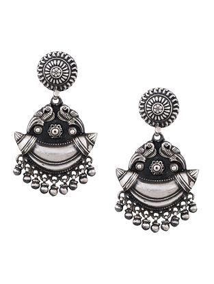 Tribal Sterling Silver Earrings with Peacock Motif