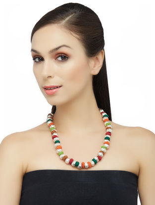 Multicolored Thread Tribal Sterling Silver Necklace