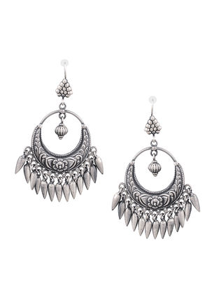 Tribal Sterling Silver Earrings with Floral Motif