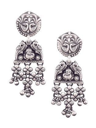 Tribal Sterling Silver Earrings with Floral Design