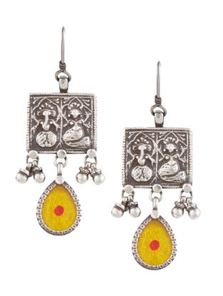 Yellow Glass Tribal Sterling Silver Earrings with Deity Motif