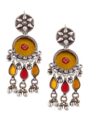 Yellow-Red Glass Tribal Sterling Silver Earrings
