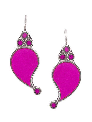 Pink Glass Sterling Silver Earrings with Paisley Design