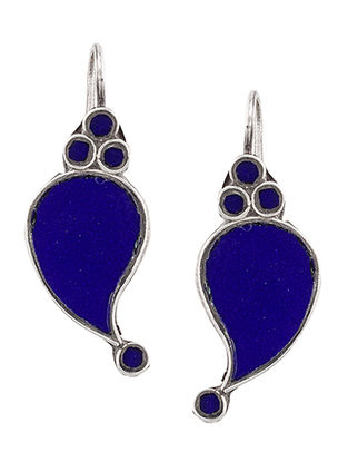 Blue Glass Sterling Silver Earrings with Paisley Design