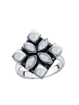 Mother of Pearl Adjustable Sterling Silver Ring