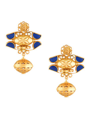 Lapis Lazuli and Pearl Gold-plated Sterling Silver Earrings