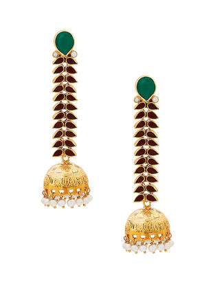 Green Onyx and Pearl Gold-plated Sterling Silver Jhumkis
