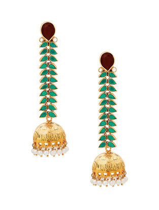 Red Onyx and Pearl Gold-plated Sterling Silver Jhumkis