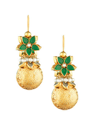 Green Onyx and Pearl Gold-plated Sterling Silver Earrings
