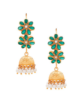 Green Onyx and Pearl Gold-plated Sterling Silver Jhumkis with Floral Design