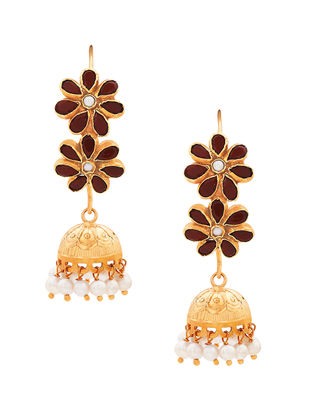 Red Onyx and Pearl Gold-plated Sterling Silver Jhumkis with Floral Design