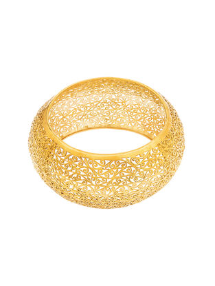 Gold-plated Sterling Silver Bangle with Filigree Work (Bangle Size -2/4)